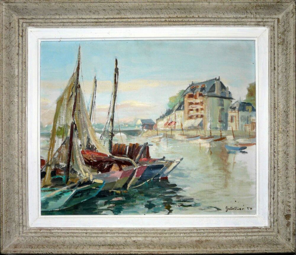 tableau bord de mer port sign gatellier 1950 huile sur toile cadre ebay. Black Bedroom Furniture Sets. Home Design Ideas