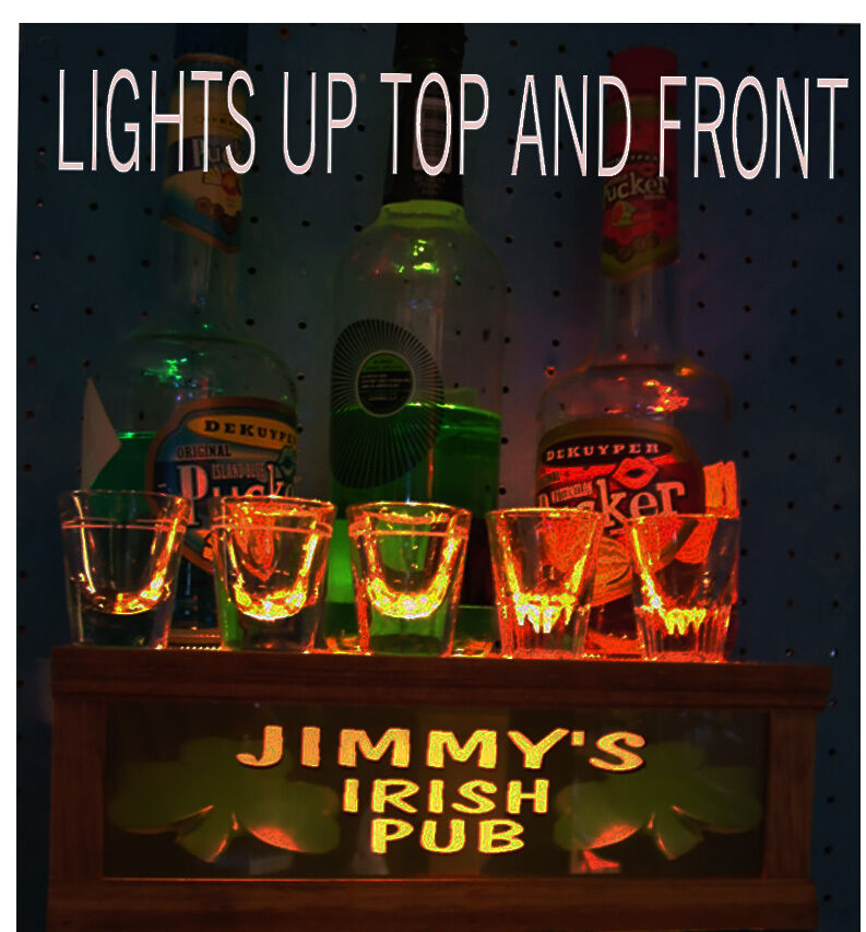 Personalized irish pub lighted shot glass liquor display for Stand pub