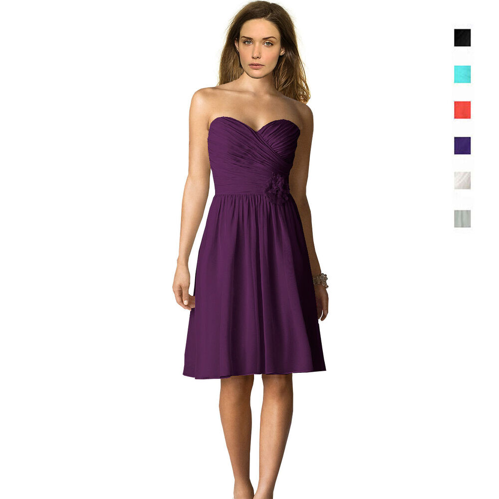 Strapless Short Chiffon Bridesmaids Formal Cocktail