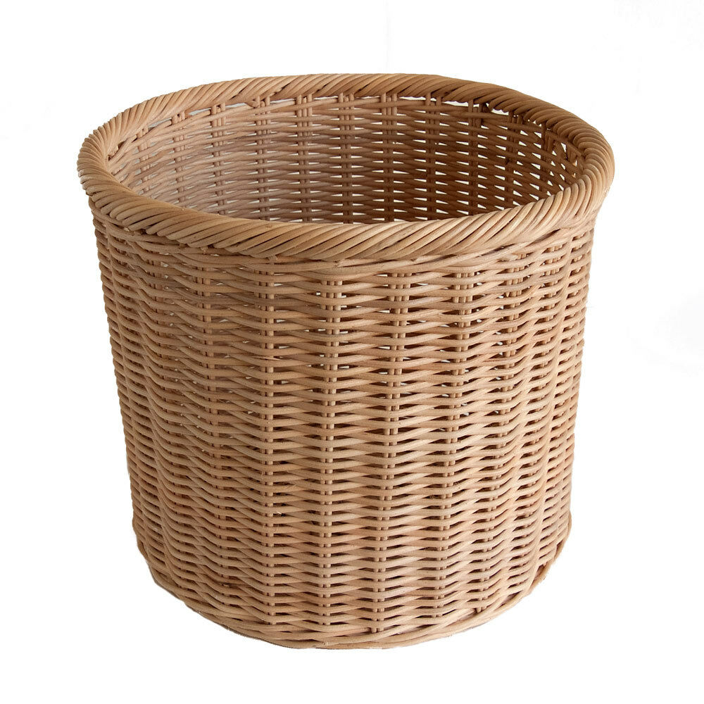 Round rattancore wicker waste paper basket bin or storage basket ebay - Wicker trash basket ...