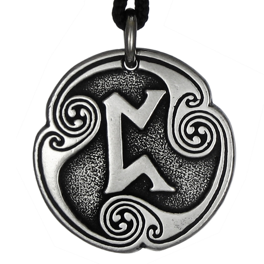 pertho rune of luck pendant norse talisman pewter jewelry