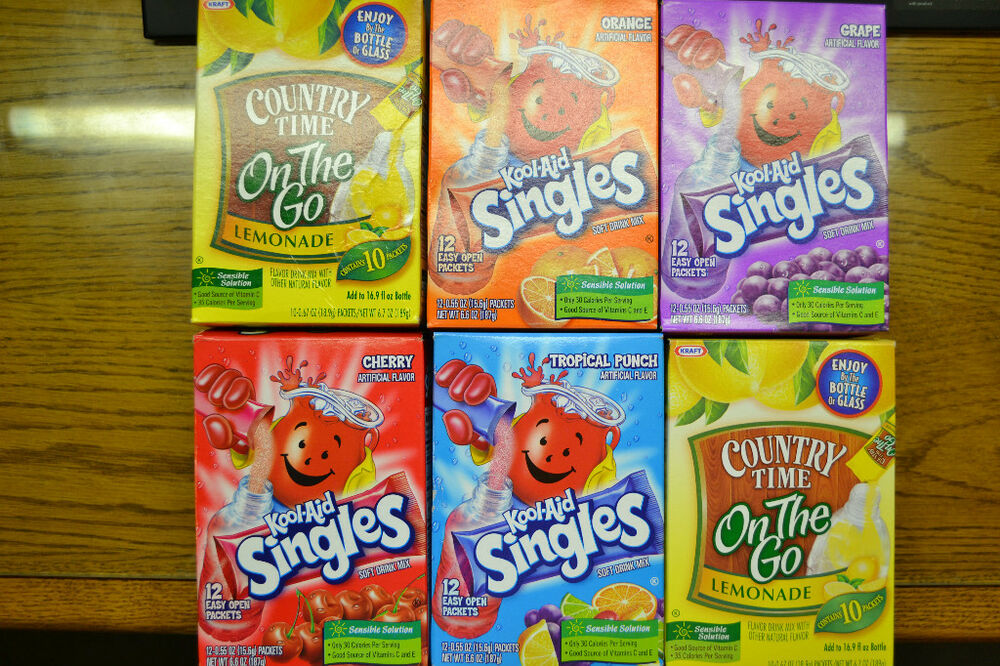 Kool Aid Singles Tropical Punch Grape Cherry Or Country Time