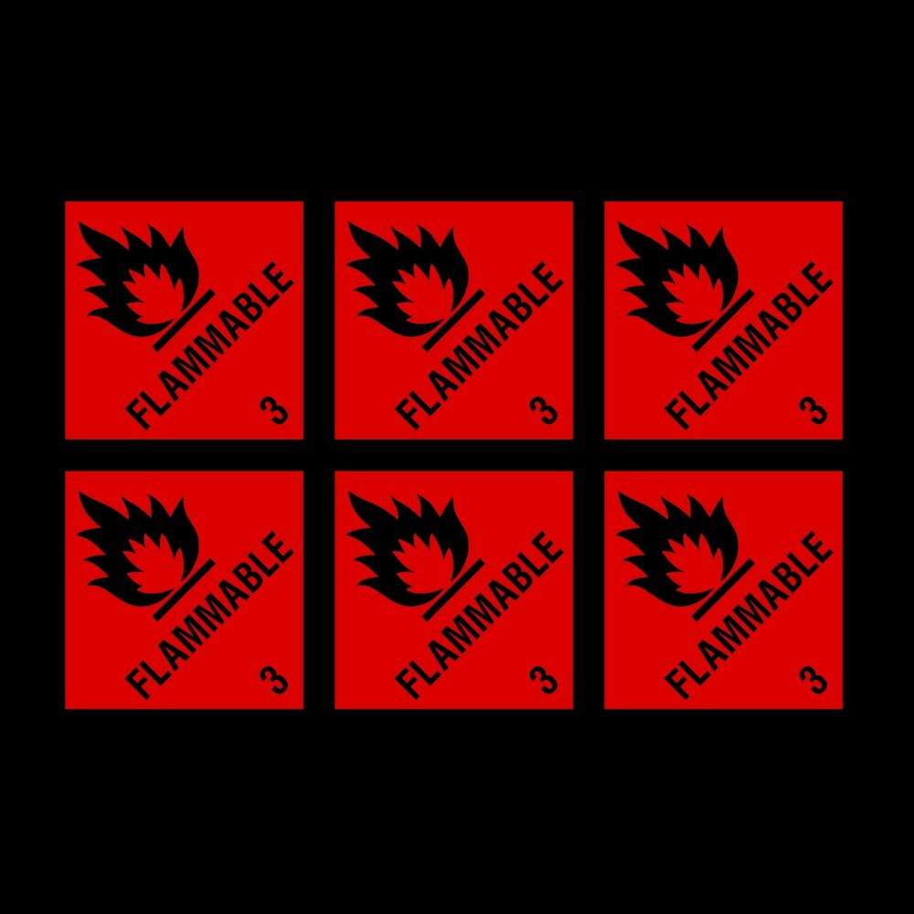 Details about flammable warning notice 100x100mm x6 stickers cheap