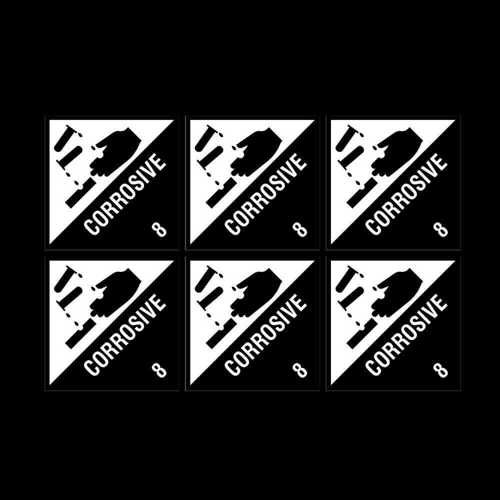 Details about corrosive warning notice 100x100mm x6 stickers cheap
