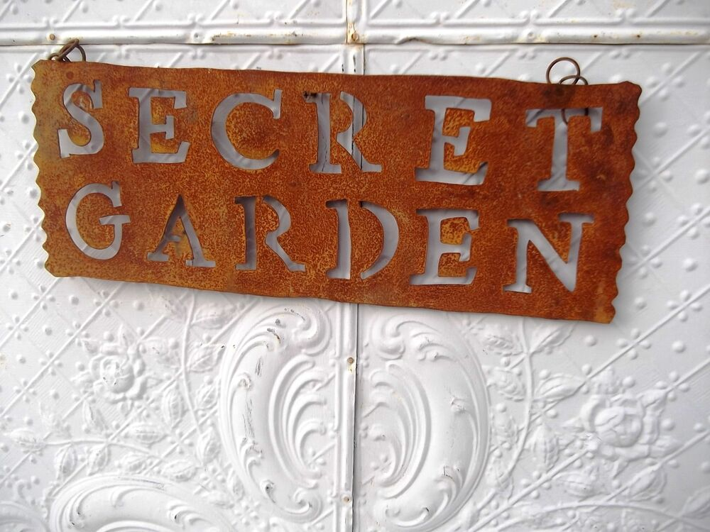 Tin Secret Garden Hanging Sign Home Decor Metal Yard