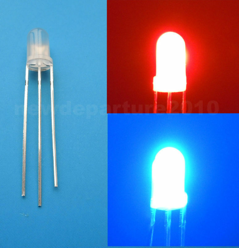 100pcs 5mm 3-Pin Dual Bi-Color Red//Green Diffused Common Cathode LED Diode Lamp