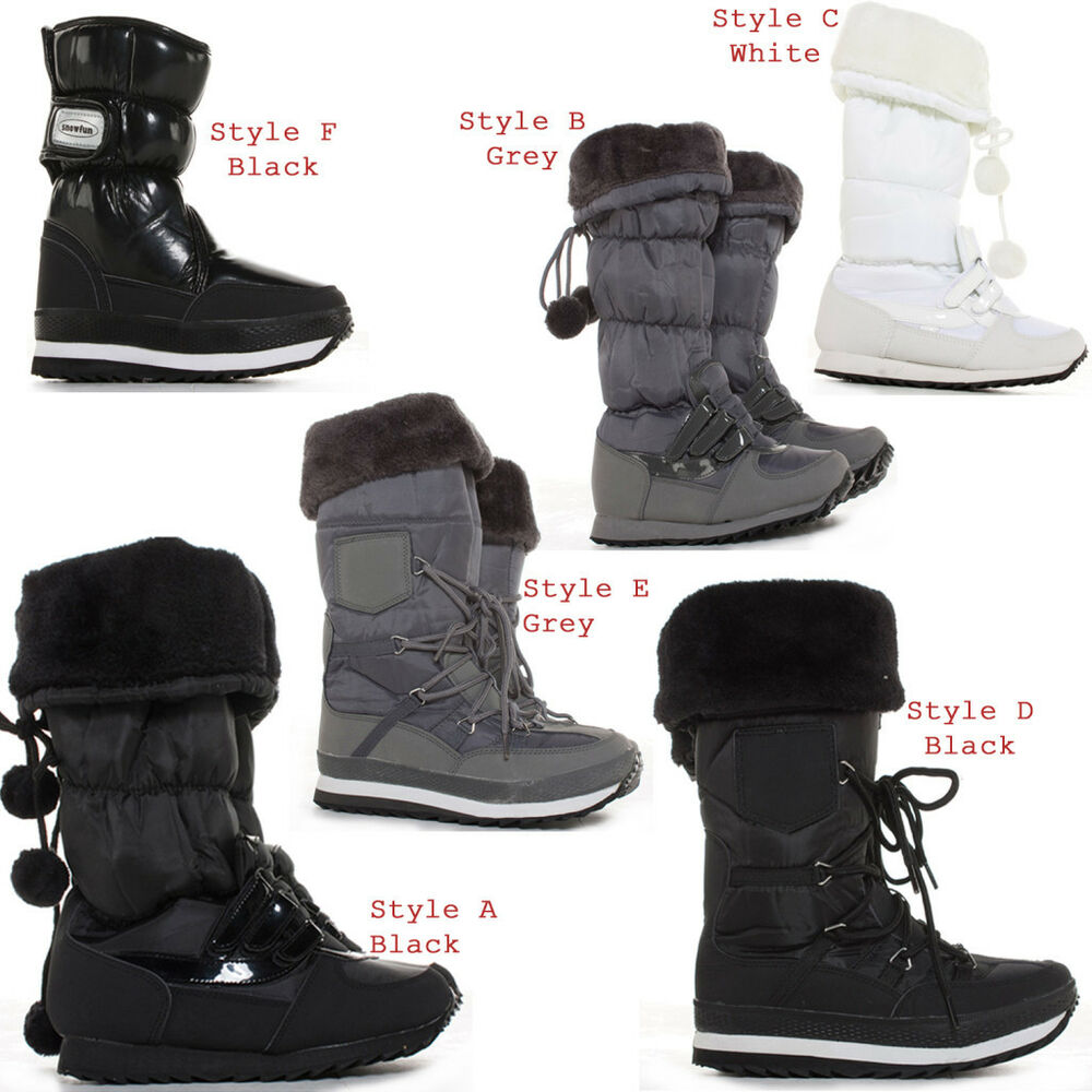 Womens Winter Wellies Wellington Ski Fur Rain Ladies Snow