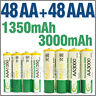 48 AA + 48 AAA 1350mAh 3000mAh 1.2V NI-MH Rechargeable Battery 2A 3A BTY Green