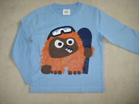 Mini Boden T Shirt Top 3-4 years applique snowboarding yetti monster