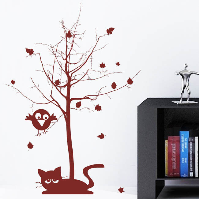 wandtattoo baum mit spatz und katze ab 22 90. Black Bedroom Furniture Sets. Home Design Ideas