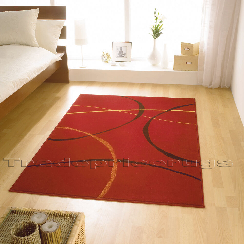 Red And Black Large Element Retro Modern Rug Discount