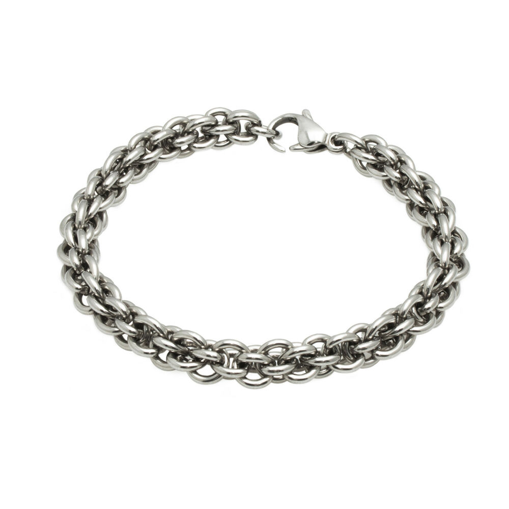 mens stainless steel linked chain bracelet ebay. Black Bedroom Furniture Sets. Home Design Ideas