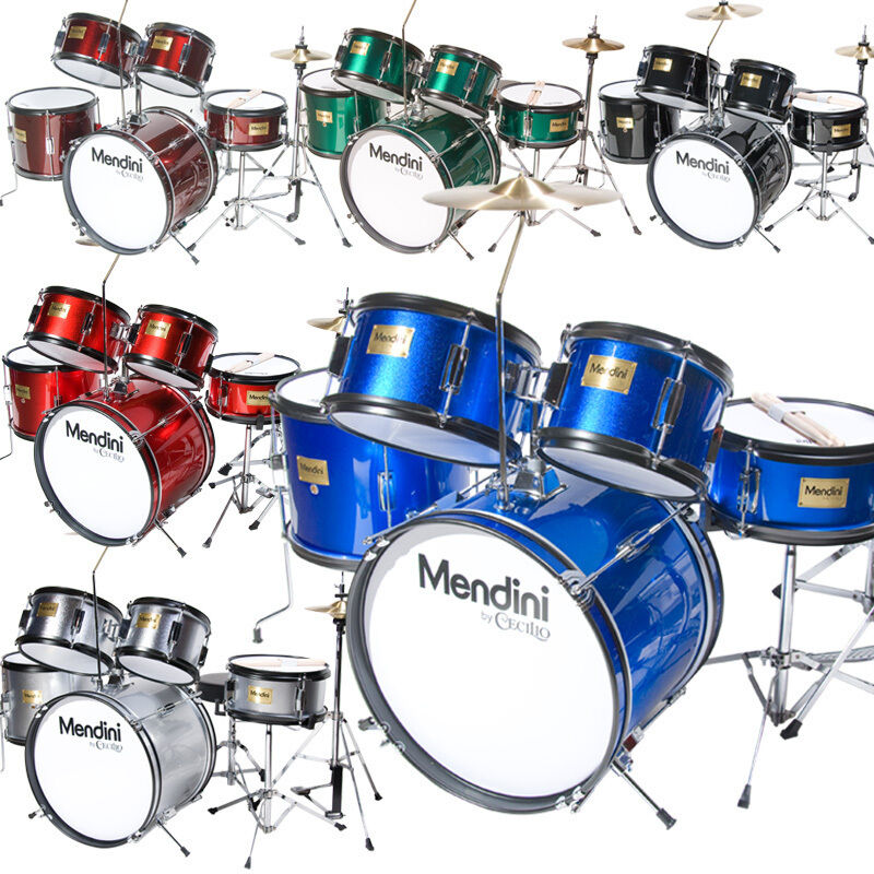 Mendini 5 Pcs Junior Kids Drum Set Throne Cymbal Black