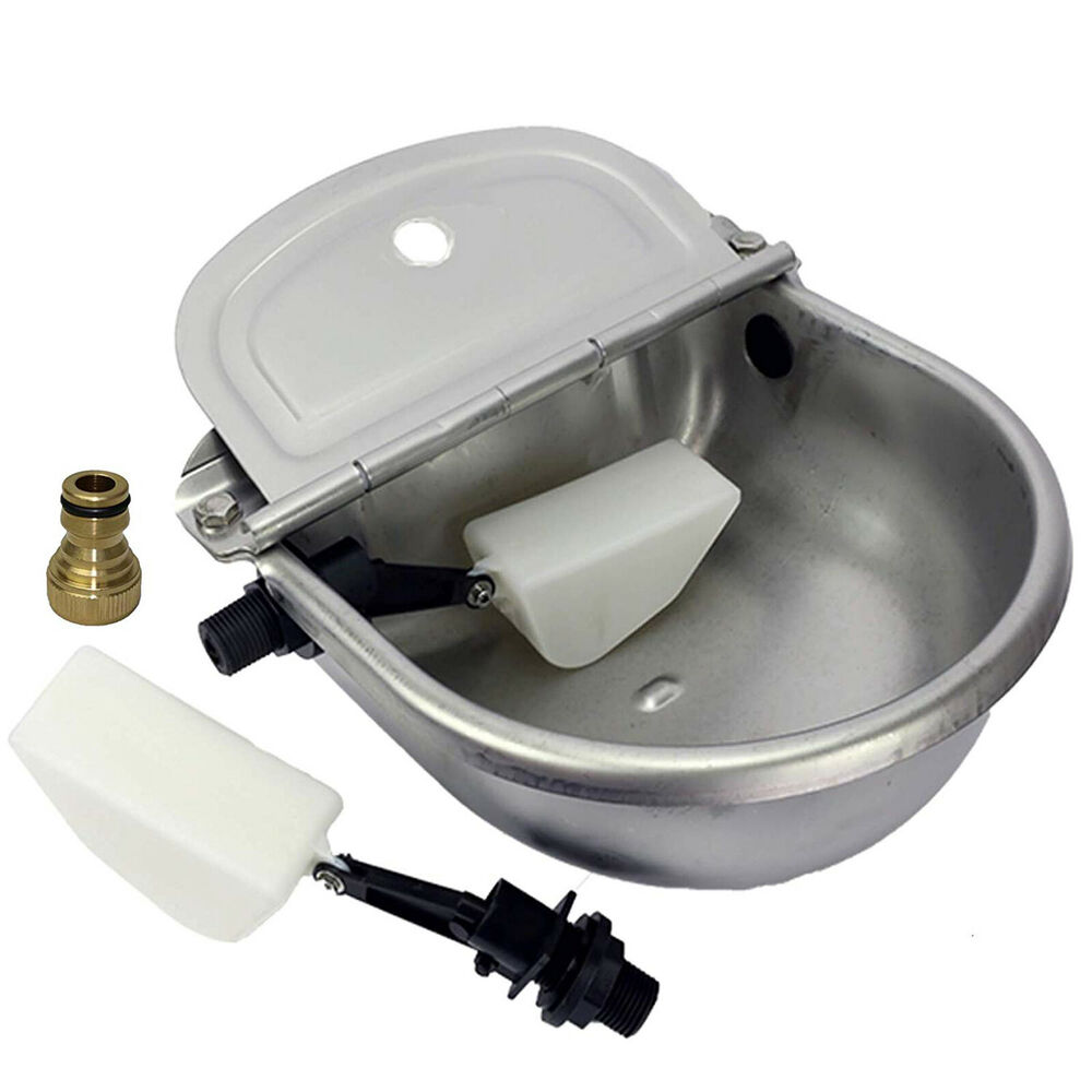 auto fill dog water bowl automatic water trough stainless steel sheep 7521