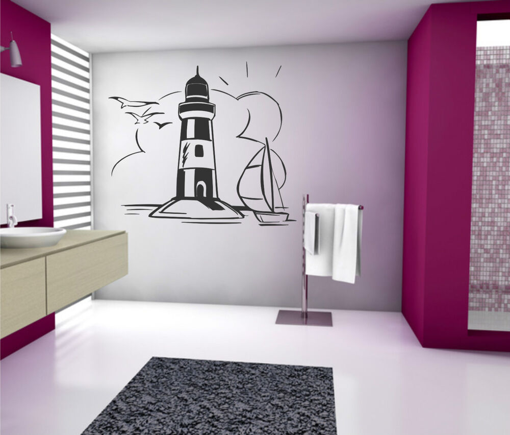 wandtattoo aufkleber leuchtturm maritim seefahrt meer. Black Bedroom Furniture Sets. Home Design Ideas