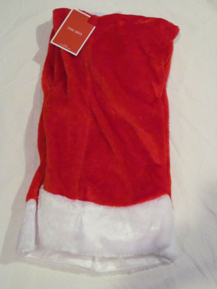 Brand new large quot plush christmas tree skirt true red