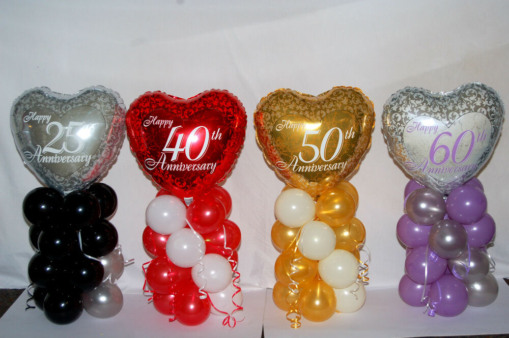 25th 40th 50th 60th Anniversary Foil Balloon Table Centerpiece Display Ebay