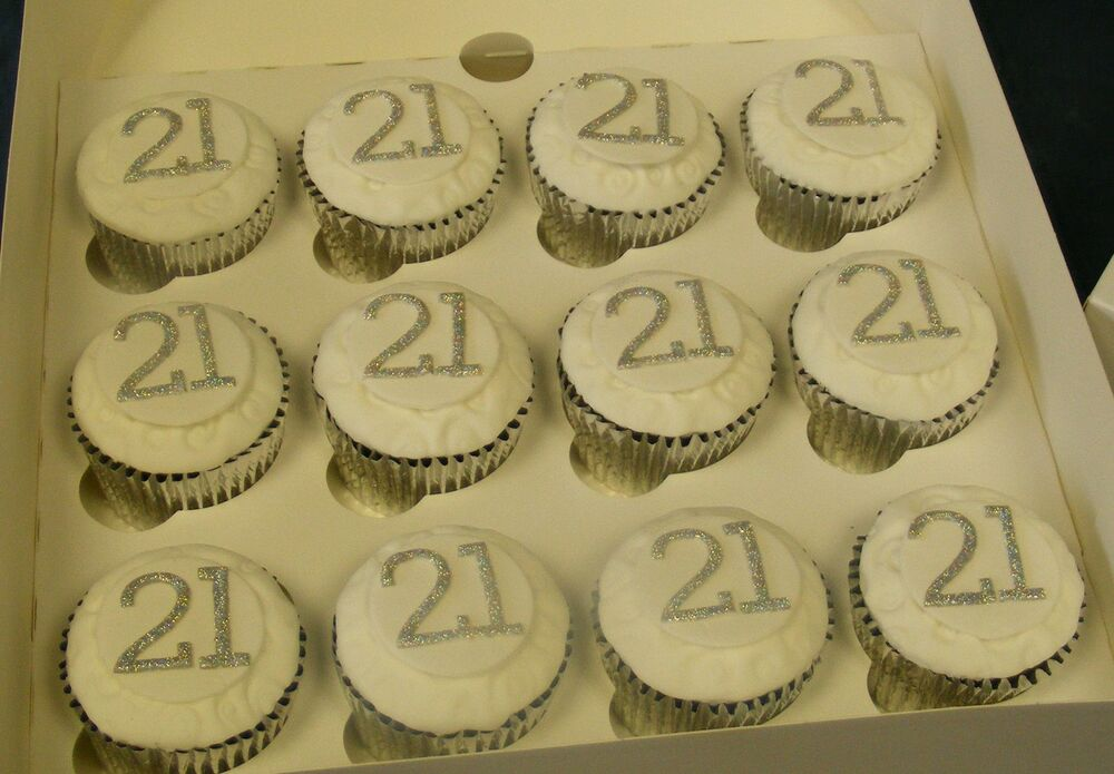 HANDMADE sugar SPARKLY 21st BIRTHDAY cup cake toppers ...