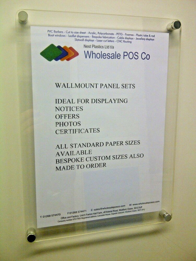 Acrylic Wall Mount Poster Display Sign Holders In 3mm