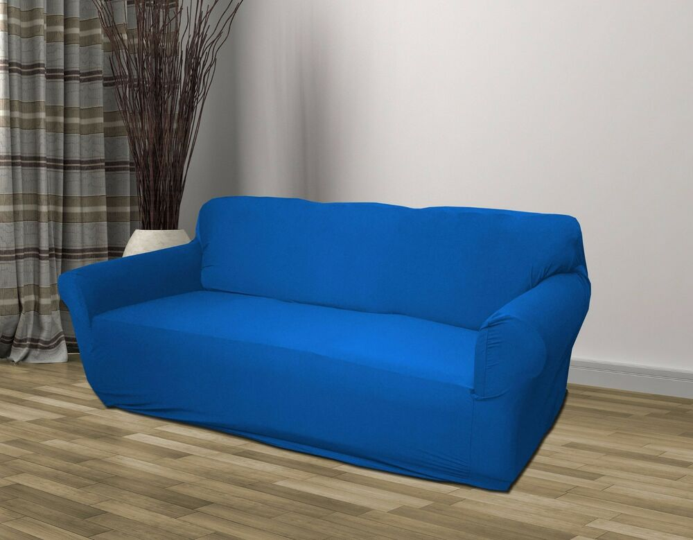 Blue jersey sofa stretch slipcover couch cover chair loveseat sofa recliner ebay Blue loveseat slipcover
