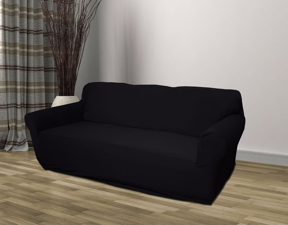 Black jersey sofa stretch slipcover couch cover chair loveseat sofa recliner ebay Loveseat stretch slipcovers