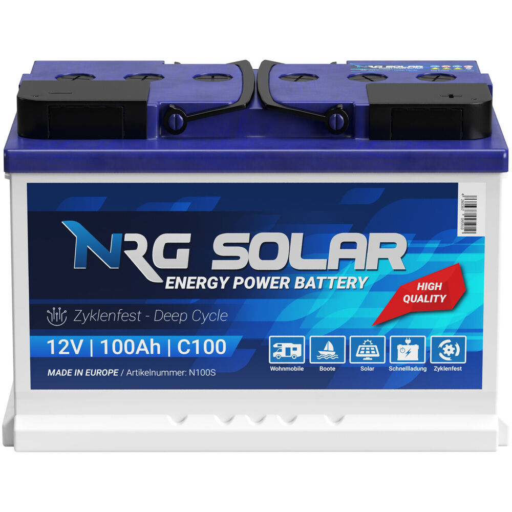 nrg solarbatterie 12v 100ah wohnmobil versorgung solar boot camping batterie ebay. Black Bedroom Furniture Sets. Home Design Ideas