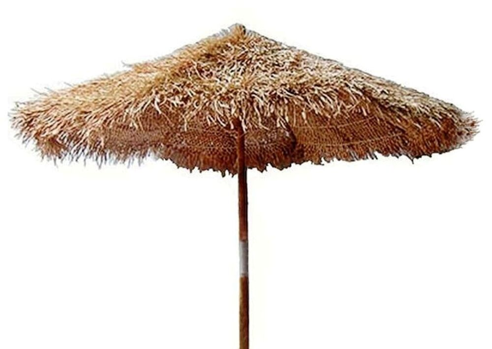 bamboo thatch tiki umbrella for patio bar palapa set choice of 3 sizes stand ebay. Black Bedroom Furniture Sets. Home Design Ideas