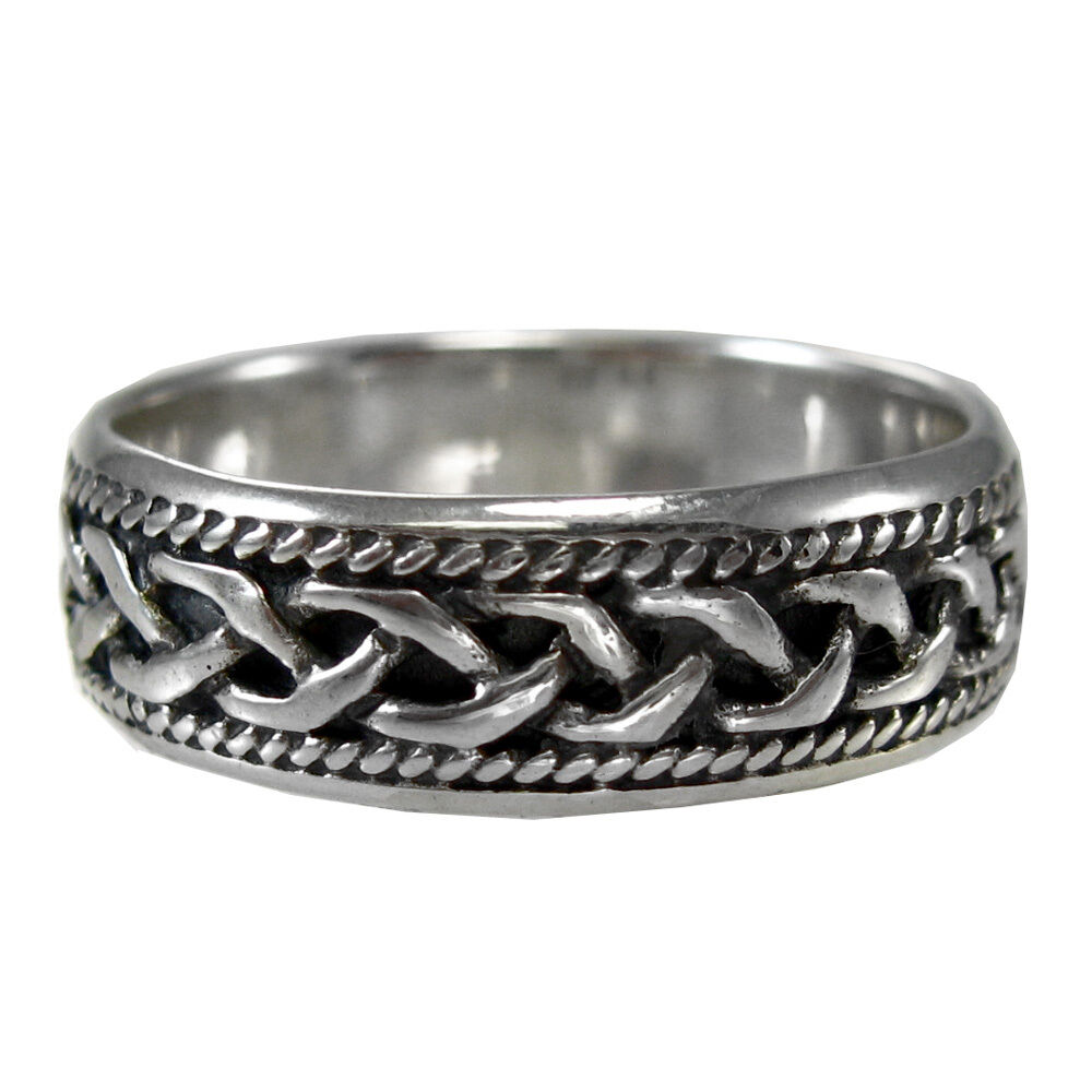 woven celtic knot ring band sz 4 15 sterling silver ss