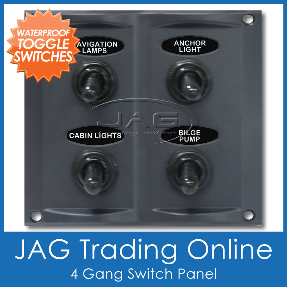 4 waterproof toggle switch panel with 15a blade fuses marine boat caravan ebay