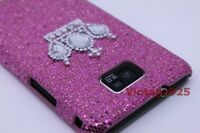 Pink Bling Crown Samsung Galaxy S 2 II i9100 Plastic Skin Phone Cover Case