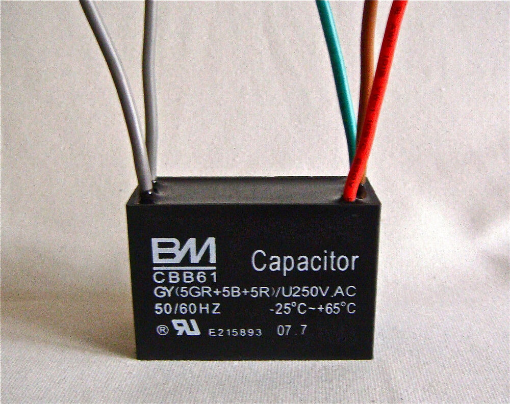 Ceiling Fan Capacitor 3 Wireceiling Id6586707 451m Relay Wiring Diagram 5 Wire Cbb61 5uf Ebay