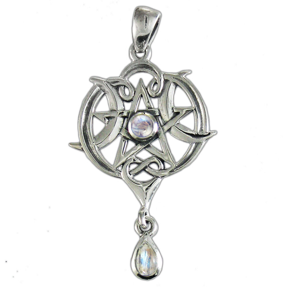 sterling silver pentacle moonstone pendant with