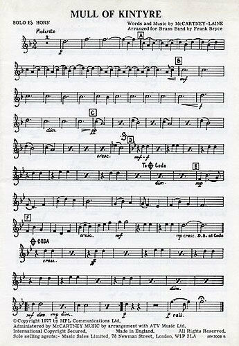 Learn To Play Mull Of Kintyre For Brass Band Trumpet Sheet Music