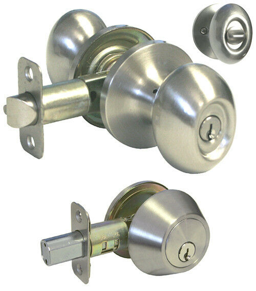 Entrance Satin Nickel Oval Egg Knob Deadbolt Combo Door