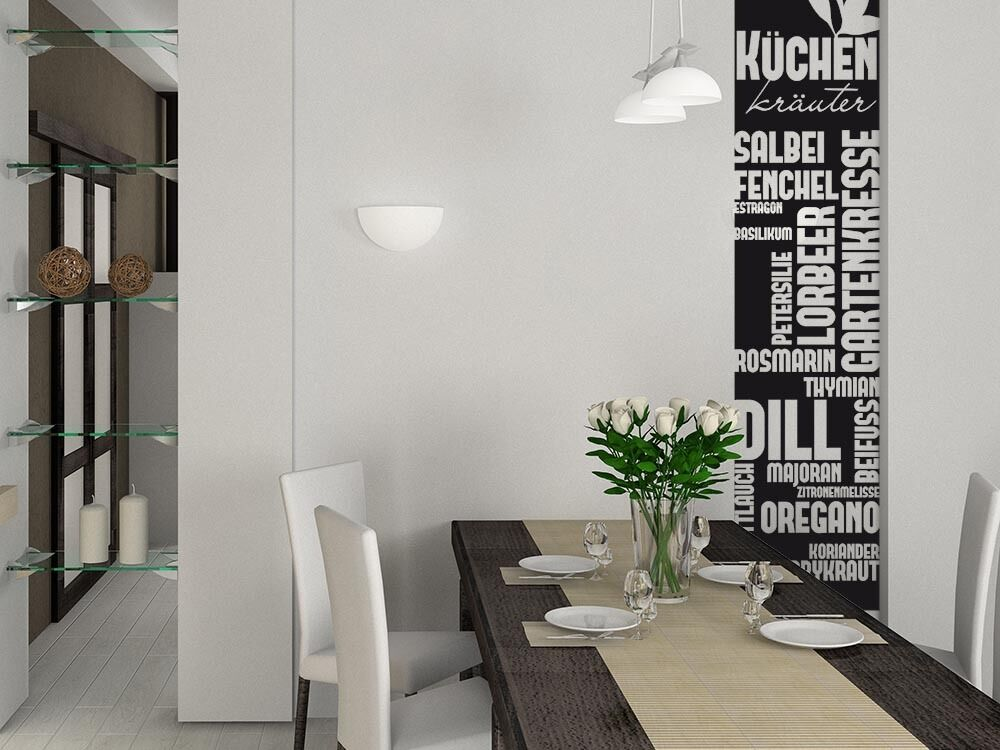 wandtattoo k che wand banner kochen essen k chen kr uter gew rze ebay. Black Bedroom Furniture Sets. Home Design Ideas