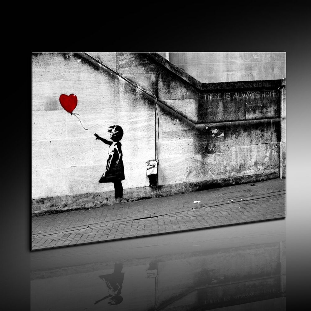 bild auf leinwand banksy graffi kunstdrucke wandbilder poster art bilder ebay. Black Bedroom Furniture Sets. Home Design Ideas