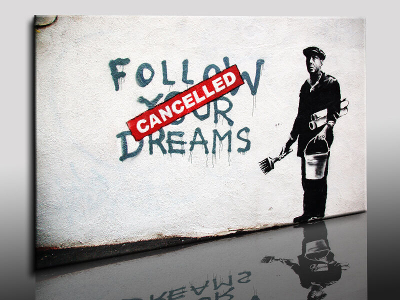 kunstdruck banksy graffiti street art bild auf leinwand. Black Bedroom Furniture Sets. Home Design Ideas
