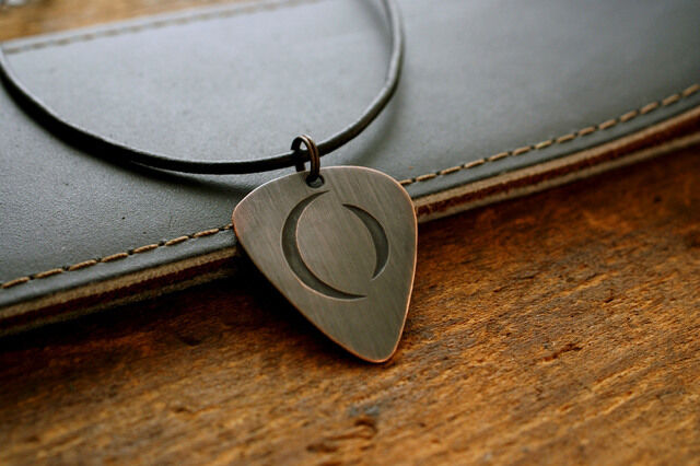 hand made etched copper guitar pick necklace w a perfect circle tool ebay. Black Bedroom Furniture Sets. Home Design Ideas