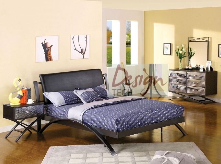 4 Pc Kids Boys Teen Bedroom Set Twin Full Queen Bed Dresser Chrome Metal Modern Ebay