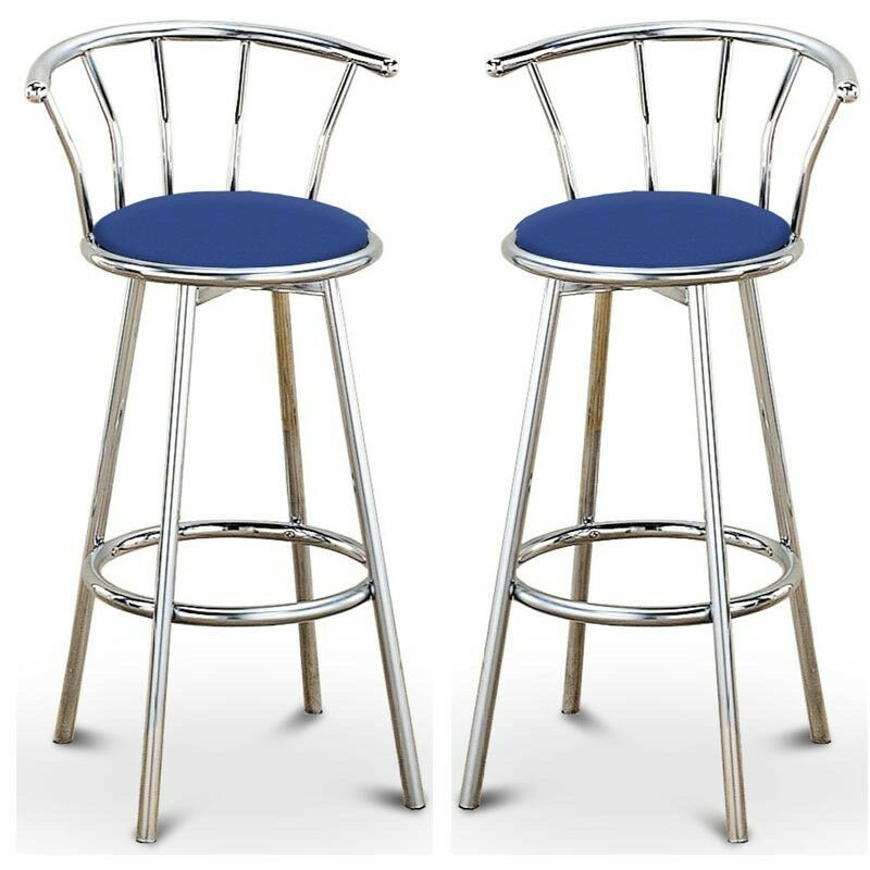 Chrome Bar Stools ~ Set of chrome plated metal black blue swivel vinyl