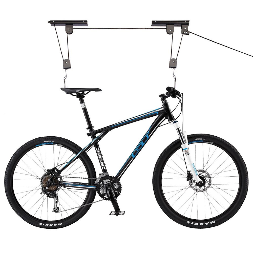 bicycle lift ceiling mount pulley cycle bike hanger garage basement storage rack ebay. Black Bedroom Furniture Sets. Home Design Ideas
