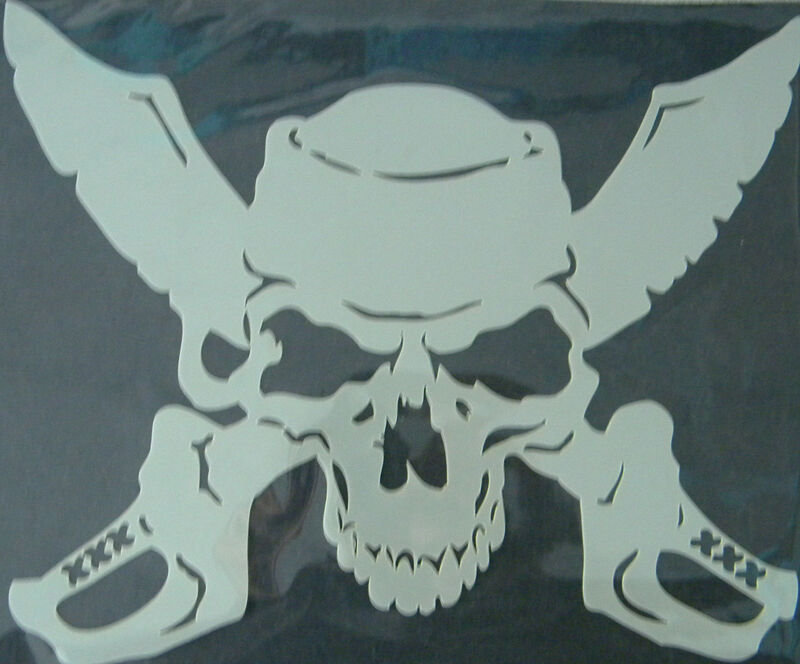 Pirate Skull With Broadsword Mylar Reusable Stencil 10