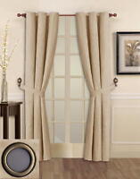 2 PANELS GROMMET SOLID BEIGE MICRO SUEDE WINDOW COVERING CURTAIN SG17436