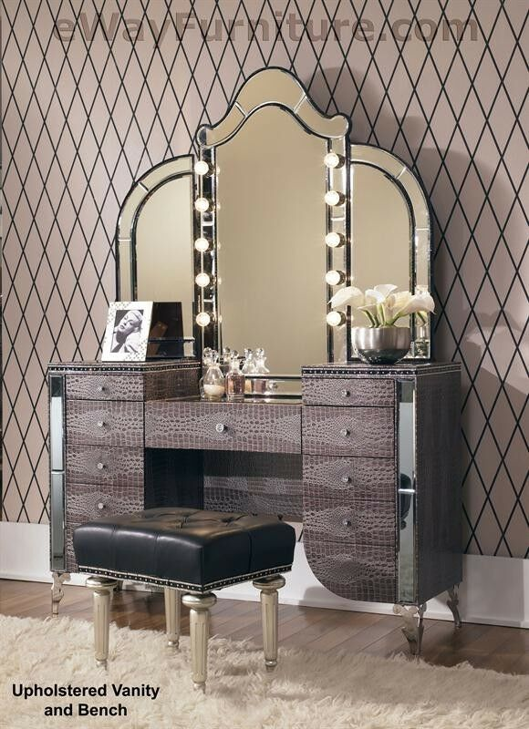 Vanity With Mirror Lights And Chair : Upholstered Vanity, Mirror, Bench Crystal Accents Hollywood Bedroom Furniture eBay