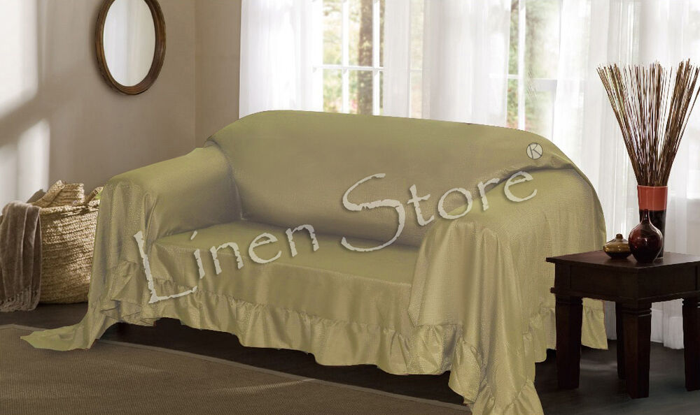 SAGE VENICE FURNITURE THROW COVER FANCY RUFFLE BORDER