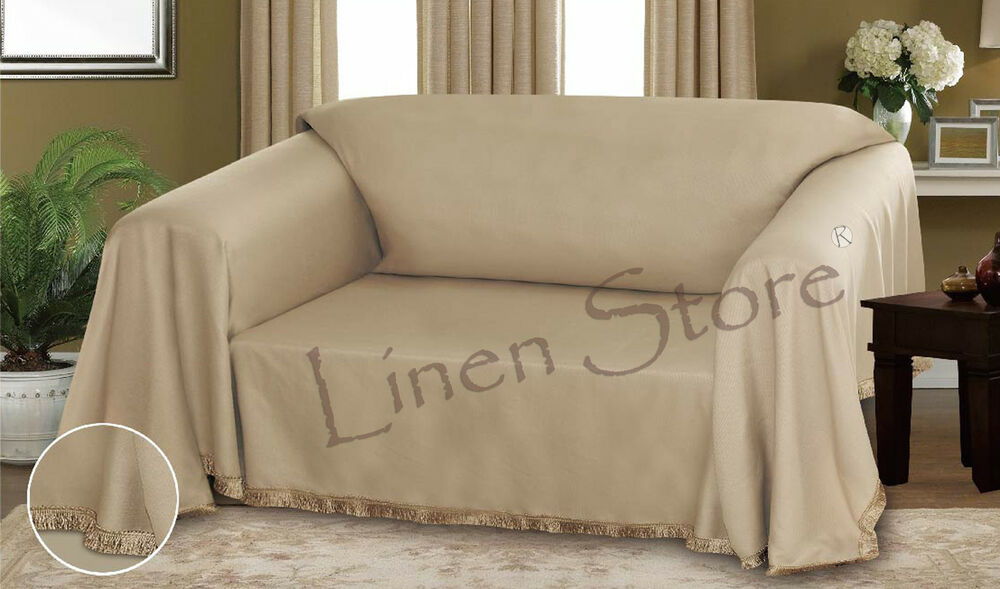 Taupe Dixie Dobby Weave Furniture Throw Cover Fancy Fringe