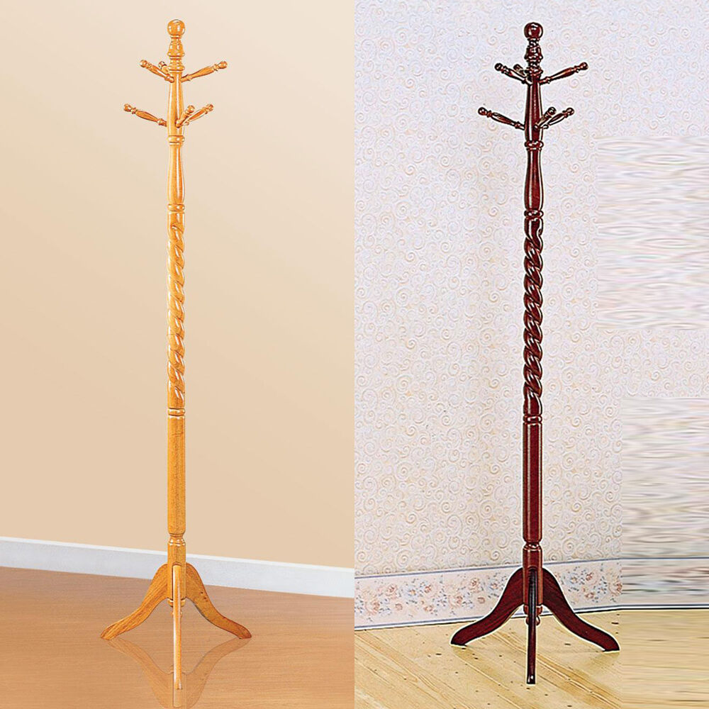 6 Hooks Cherry Oak Twist Center Stand Hall Tree Solid Wood