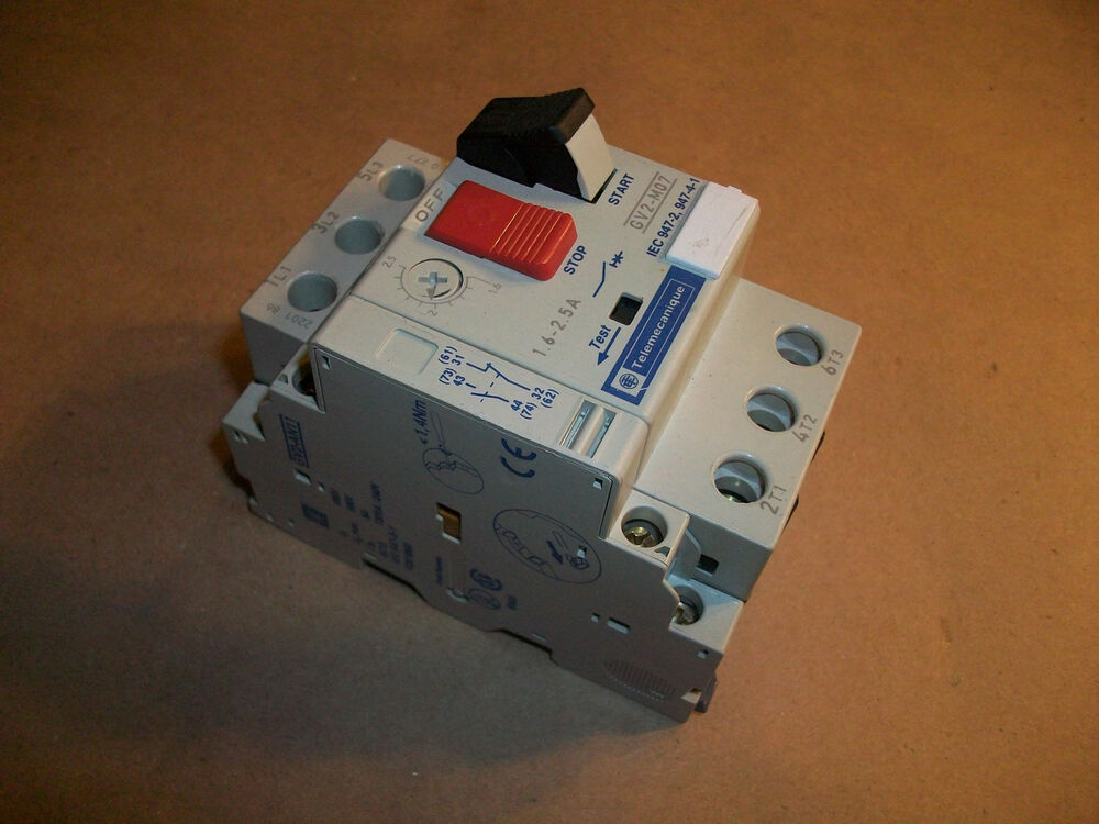 Telemecanique Manual Motor Starter Gv2 M07 1 6 W Gv2 An11 Aux Contact Ebay