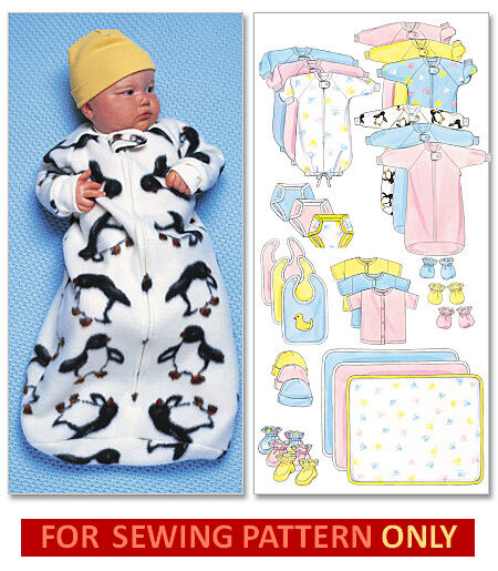 Sewing Pattern Makes Baby Layette Bunting Booties Hat