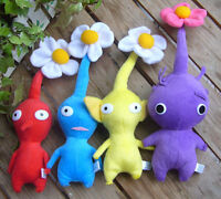 New 4pcs Pikmin Red Yellow Blue Purple Flower Plushies Doll Toy Lovely Gift RARE